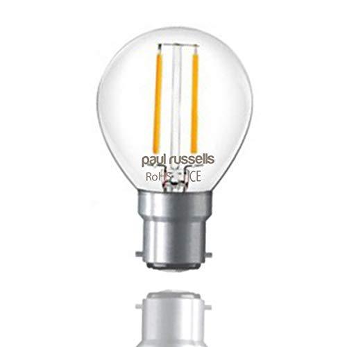 Paul Russels Lot de 102W = 25W Golf LED Ampoules à filament B22BC à baïonnette 2W Petit...