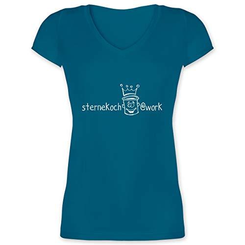 Küche - Sternekoch - S - Türkis - XO1525 - Damen T-Shirt mit V-Ausschnitt - Monsieur Gesicht