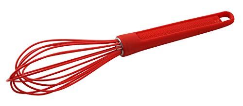 Dr. Oetker Silikon-Schneebesen FLEXXIBEL Love, praktischer Rührbesen aus hochwertigem Platinsilikon, spülmaschinengeeignet, handlicher Ballonschneebesen, aufhängbar (Farbe: Rot), Menge: 1 Stück (Silikon-schneebesen)