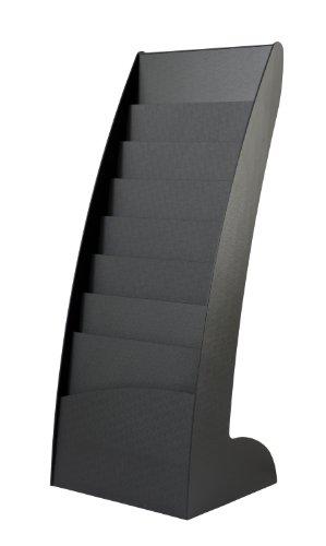 Fast Paper Zeitschriftenständer, gebogenes Design, 8x20mm-Fächer, 5,9Kg, B443xT350xH1083mm, Schwarz