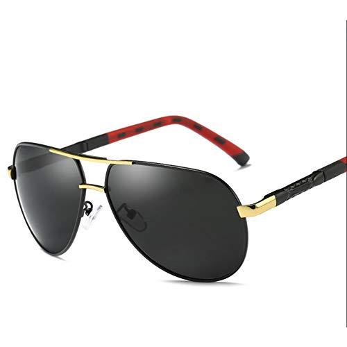 HYwot Polarisierte Herren-Sonnenbrille von AORON, farbig polarisierte Sonnenbrille, Metall, Blendschutz, UV-Schutz, Geeignet für Autofahren, Outdoor, Reisen,goldblack