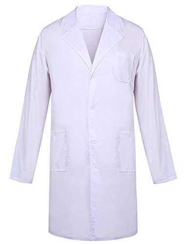 Bata de Laboratorio Bata Médica para Mujer 100% Algodón Abrigo Blanco Damas Hombres Estudiantes Escuela...