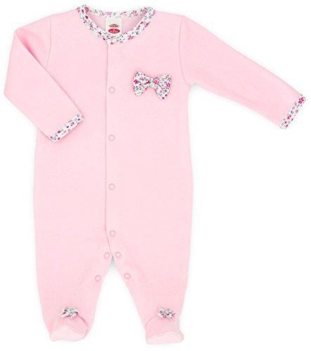 MAKOMA Baby Mädchen Strampler mit Fuß Strampelanzug -02117 Small Bow- (56)