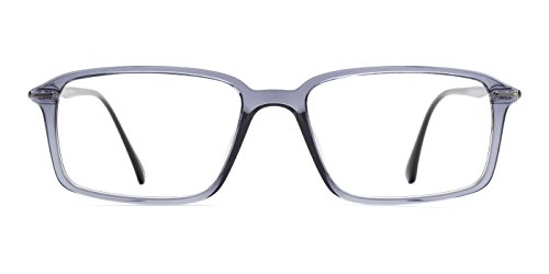 TIJN Unisex Rechteck Celebrity Star Brille Einfach CLEAR LENS Gläser, Silber, 00018102