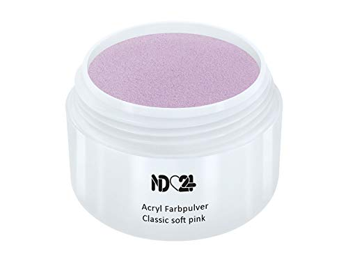 Nagel Rosa Pulver (Acryl Farbpulver Classic soft pink ROSA - nd24 BESTSELLER - Feinstes FARB Acryl-Puder Acryl-Pulver Acryl-Powder - STUDIO QUALITÄT)