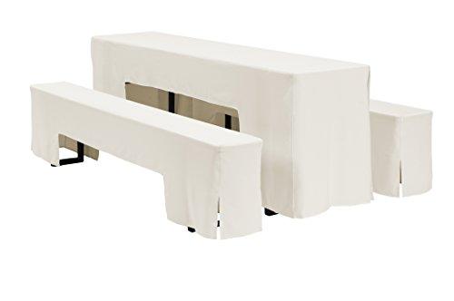 Dena 637017 Hussen-Set Arcade für Festzeltgarnitur, 100% Polyester, 220 x 70 cm, Creme