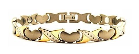 Titan Damen Schmerzlinderung Magnettherapie Armband mit Herz Design, inklusive Germanium und Far Infrarot fügt