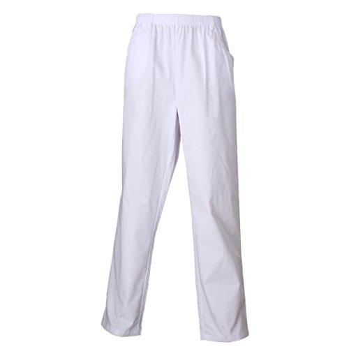 MISEMIYA - Pantaloni Unisex Vita Elastica Uniforme di Lavoro Clinica Ospedale Pulizia Veterinario IGIENE OSPITALITÀ - Ref.8312 - M, Bianco