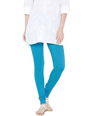 FashGlam Women Premium Cotton Churidar Legging - Turquoise Blue