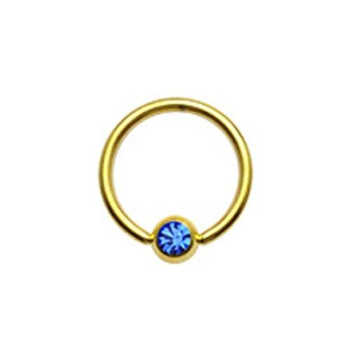 Gekko Body Jewellery Placcato Oro Captive Bead anello (CBR) con blu set pietra cz-14Gauge (1,6mm) X 12mm - Captive Ring 12 Gauge