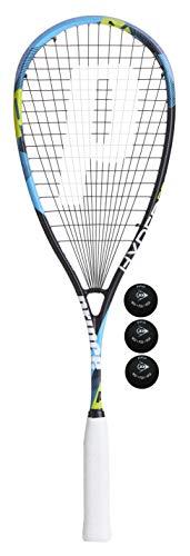 Prince Hyper Pro 550 Squash Raqueta (Varias Opciones) (1 Raqueta + 3 Pro Squash Bolas)