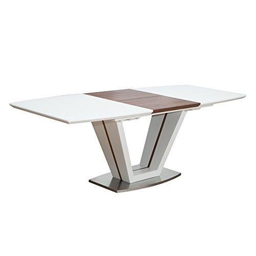 Riess Ambiente Design Esstisch Empire ausziehbar 160-220cm edelmatt weiß Walnuss Tisch Konferenztisch