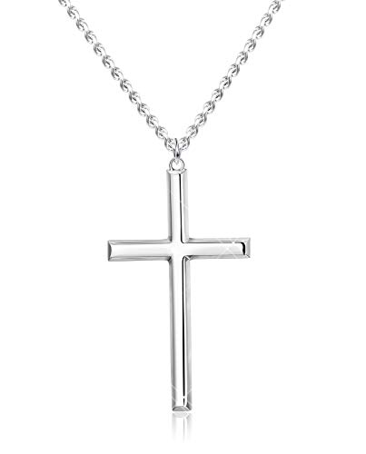 BE STEEL 3MM 925 Sterling Silver Cross Necklace for Men Women Pendant Necklace Classic Curb Chain Jewellery Best Gift with Box 22 inch