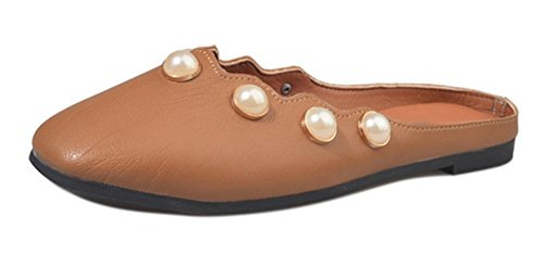 Baotou chaussures à talons bas perle semi-remorque sandales plates et pantoufles femme paresseuse light brown