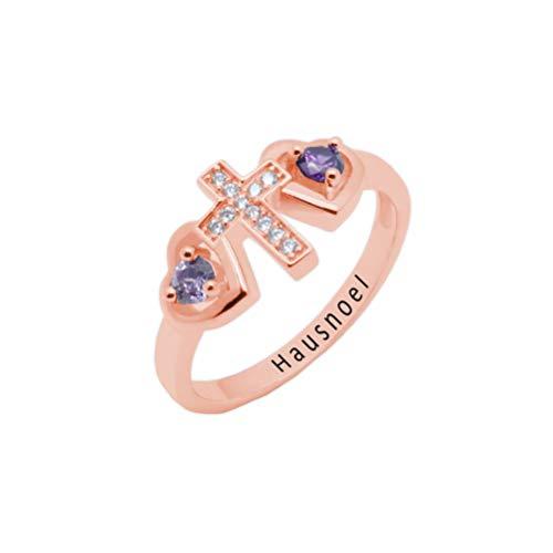 Yanday Personalisierte Ring 2 Name Birthstone Custom Cross Promise Ring Roségold 66 (21.0)