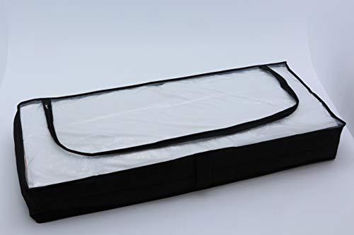 Homme 2X Unterbettkommode strapazierfähig atmungsaktiv Polypropylen-Vliesstoff Reißversschluss Oberseite durchsichtig 103x45x16 cm schwarz Doppelpack (schwarz)