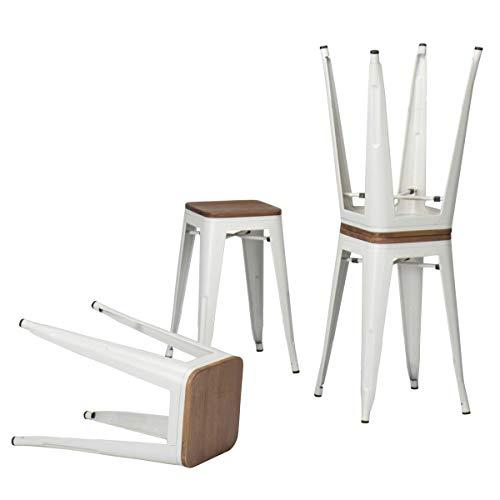 Taburete de bar de metal, juego industrial (4 unidades) 18' White Wood Backless