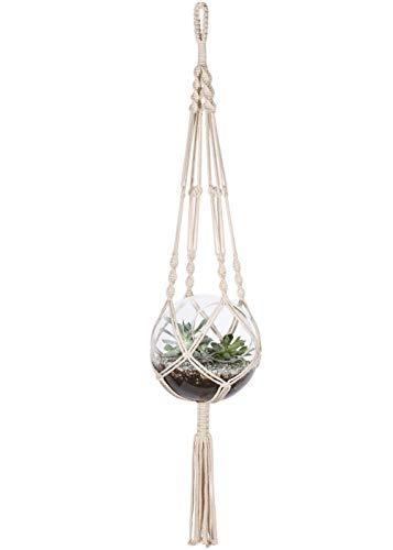 hänger für drinnen und draußen, zum Aufhängen, Boho Chic, Pflanzgefäß, Blumentöpfe für Dekorationen, Baumwollseil, Beige Art Deco 01 ()