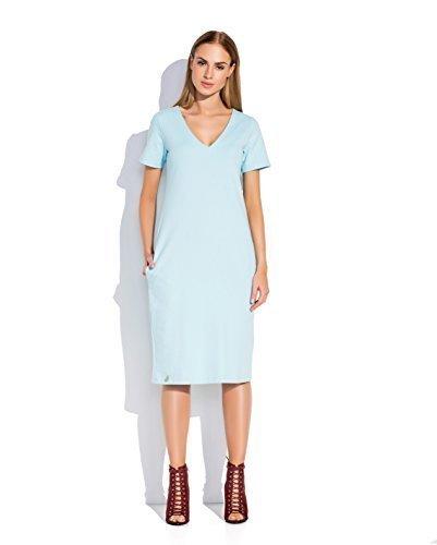 Futuro Fashion Femmes Robe Unie Manche Courte Longueur Genou Coton Robe Mi-longue avec poches Grande Taille 8-18 UK FA494 Bleu