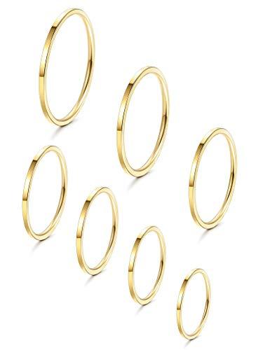 YADOCA 7 Stück Edelstahl Ringe Stapeln für Frauen Mädchen 1MM Dünner Knöchelring Midi Band Fit Größe 3-9