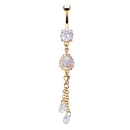 Bodya vergoldet Frauen Bauch Button Ringe Kristall Strass Schmuck Anhänger Navel Bar Body Piercing Ring (Belly Button Strass)