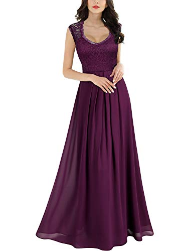 MIUSOL Damen Aermellos V-Ausschnitt Spitzenkleid Brautjungfer Cocktailkleid Chiffon Faltenrock Langes Kleid Magenta M -