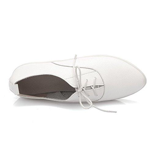 AllhqFashion Femme Lacet à Talon Bas Cuir de Bœuf Couleur Unie Pointu Chaussures Légeres Blanc