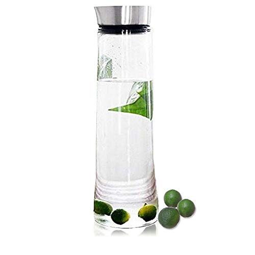 1PCS 1L Wasser Krug Glas-Karaffe Borosilikatglas Wasserkaraffe Kaltes Eistee Wasserkanne mit Deckel aus Edelstahl für Wasser, Milch, Saft, Limonade und kohlensäurehaltige Getränke geeignet -