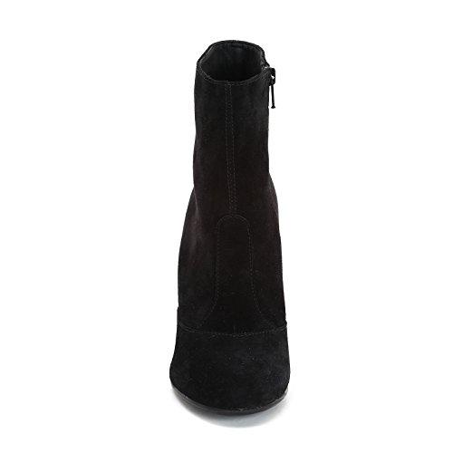 ALESYA by Scarpe&Scarpe - Bottines hautes avec talon large, en Suède, à Talons 10 cm Noir
