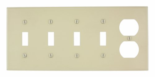 Leviton P48-I 5-Gang 4-Toggle, 1-Duplex Device Combination Wallplate, Painted Metal, Device Mount, Ivory by Leviton