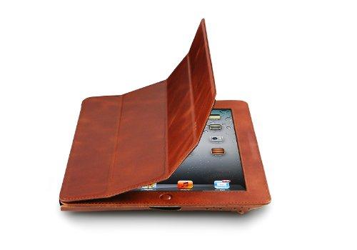 Preisvergleich Produktbild StilGut Couverture Case Version 2, Tasche aus feinstem Leder für das neue Apple iPad 3. & 4. Generation unterstützt Smart-Cover Funktion in Cognac