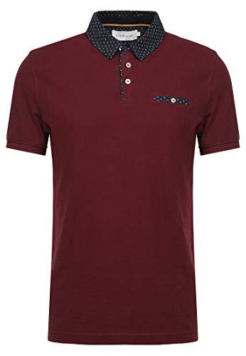 Pier One Polo Hemd für Herren - Tshirt mit Brusttasche & Knöpfen - Bordeaux in Größe 2XL