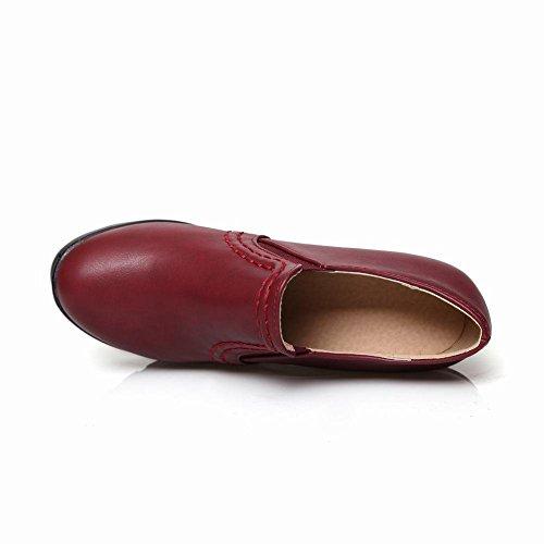 6abdd56c16880a Mee Shoes Damen bequem modern populär runder toe Geschlossen dicker Absatz  Plateau Pumps Weinrot ...
