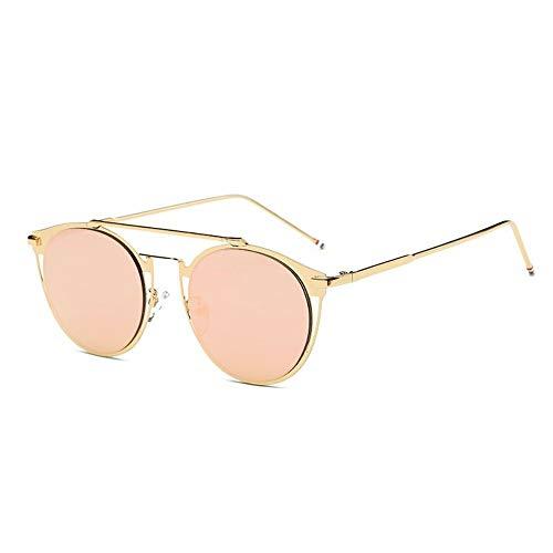 MOJINGYAN Sonnenbrillen,Vintage Colorfull Metall Sonnenbrillen Mode Thom Browne Sonnenbrille Männer Marke Sonnenbrille Box Frauen Gold Rosa