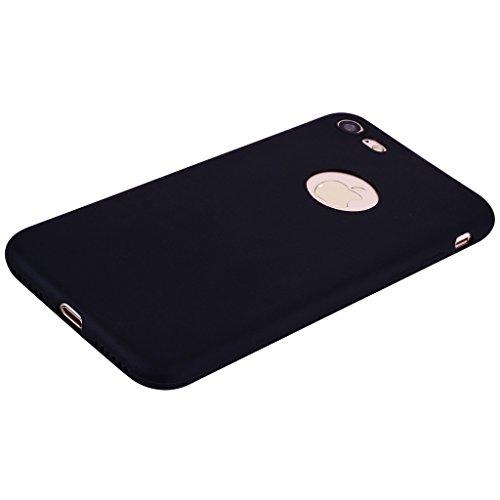 Custodia per Apple iPhone 7 , IJIA Puro Rosa TPU Silicone Morbido Protettivo Coperchio Custodia Bumper Protettiva Case Cover per Apple iPhone 7 (4.7) Black