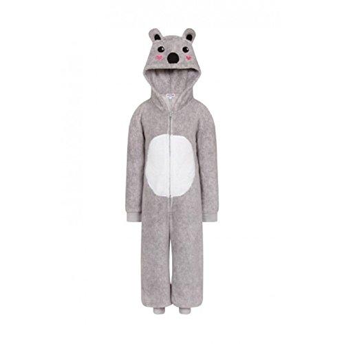 Mädchen Kinder mit Kapuze Einhorn Bademantel Einteiler Kostüm Nachtwäsche Kuschelig Weihnachten Geschenkidee - Koala Einteiler, 134-140