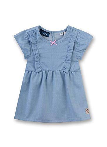 Sanetta Baby-Mädchen Dress Woven Kleid, Blau (Ice Blue 50304), 86 (Herstellergröße: 086) - Blue Ice-snap