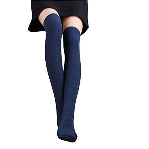 Chaussettes femme, Koly 1 Paire New Femmes Coton Tricot Plus Genou Cuisse Motif Bas Spiral Chaussettes (marine)