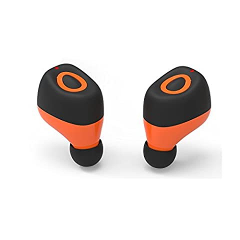 Wireless Bluetooth Headphone Earbuds Q17 Mini Wireless Bluetooth Kopfhörer Sport Headsets Zwillinge Noise Cancelling Stereo Headsets Sweatproof mit HD für Smartphones(Orange)