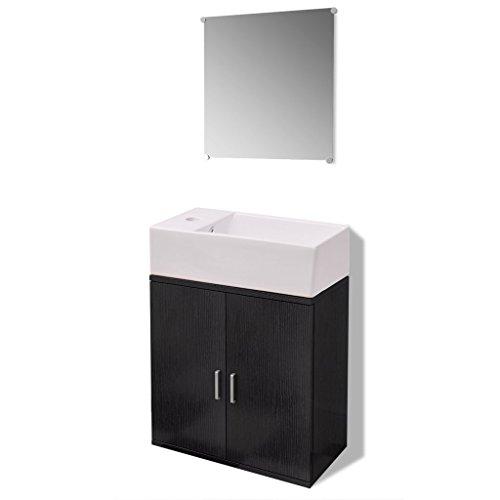 Festnight Set de Mueble de Baño 3 Piezas Negro