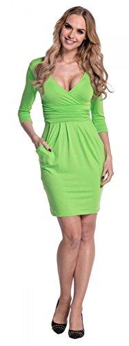 Glamour Empire. Damen Jersey Gerafftes Tulpenkleid mit Taschen Gr. 38-48. 236 Grün