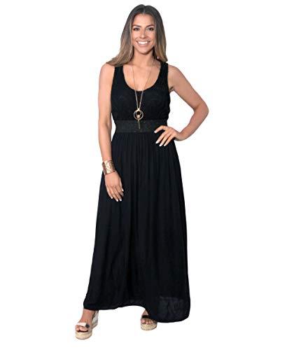 KRISP Robe Femme Longue Chic Soirée Bohème, Noir, S-M