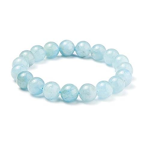 SUNNYCLUE Natural Genuine Gemstones Ocean Blue Aquamarine Bracelet Stretch 10mm Round Beads about 7