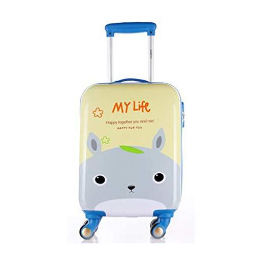 Kinder Trolley, tragbare kleine 18-Zoll-Hebel-Kombination Travel Box, Cartoon-Koffer, Universal Wheel Lock Box (Color : Blue Rabbit)