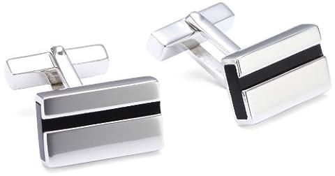 Baldessarini Herren-Manschettenknöpfe 925 Sterlingsilber rhodiniert Onyx schwarz 18 mm (Schwarz 18 Wheels)