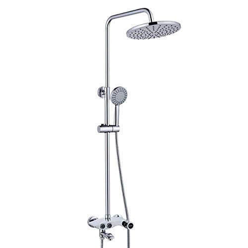 LCM An der Wand montierte Dusche, an der Wand montierter Badezimmerschrott, Dusche, Full Copper Lifting Top Dusche, Knopf-Press-DREI-Gang-Multi-Funktions-High-End-Duschset (Bad Wasserhahn Griff Delta Knopf)