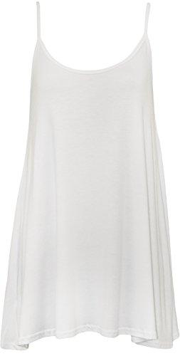 WearAll - Übergröße Damen Riemchen Ärmellos Swing Vest Top - Weiß - 48-50 (Weiß Jean Vest)