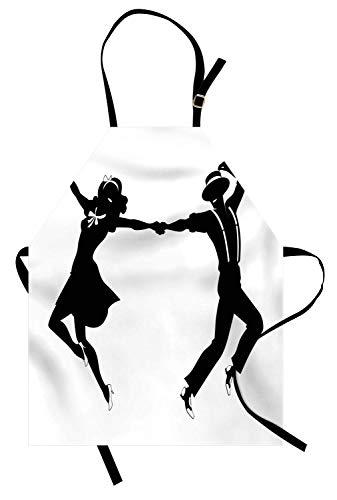 Broadway-Schürze, Paar Tanzen Swing oder Stepptanz Machen schnelle Bewegungen auf einem einfachen Hintergrund, Unisex-Küchenschürze mit verstellbarem Hals zum Kochen Backen Gartenarbeit, Charcoal Grey