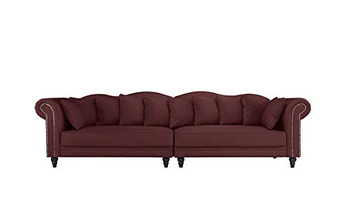 B.H.D Morgane – Sofa Chesterfield Double Extra – Velours – 304 x 92 x 86 cm