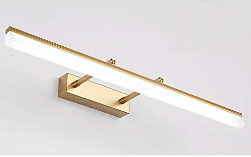Dorado aplique LED para espejo de baño rectangular Ángulo de 180Ajuste Lámpara de espejo télescopable (acero inoxidable y acrílico IP44[clase energética A + +]